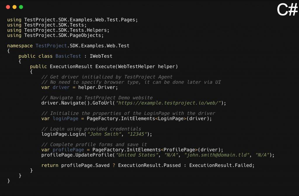 TestProject csharp code
